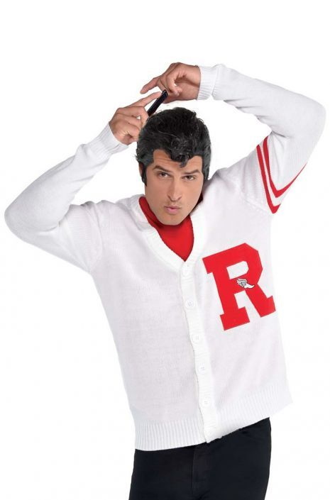 Mens Rydell High School Costume Adults 1950s 50s Grease Jumper Jock Fancy Dress