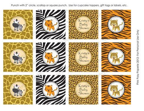 Safari para imprimir bebé ducha Cupcake Toppers por PinkPosyPaperie