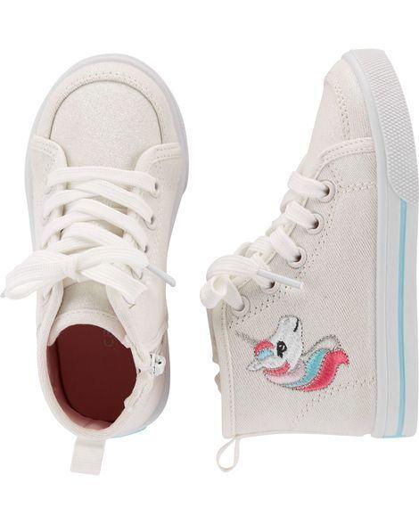 8c1f6e731f Glitter Canvas Unicorn High Top Sneakers | Emma | Girls sneakers ...