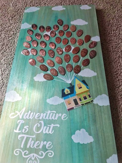 Adventure is out there! This is a Handmade, Handpainted, wall decor, wooden display for your pressed pennies. Wood is stained in a sky blue color (please note that all wood will vary slightly as no 2 grains are the same naturally) This is Made to display your pressed penny collection. (The one we