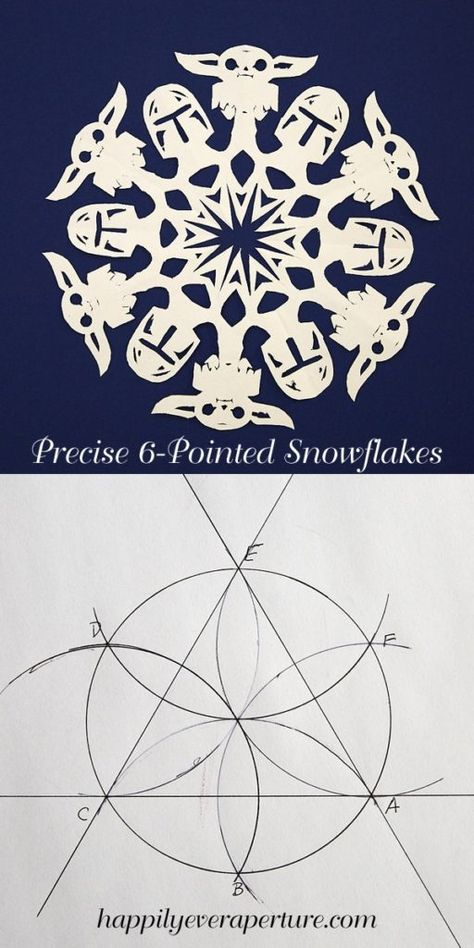 Use geometry to fold perfect snowflakes. Use precisely folded paper to make amazing snowflakes, include Lego and Baby Yoda and the Mandalorian Star Wars snowflakes. How to Fold Precise Snowflakes for Perfectionists Paper Snowflake Template, Paper Snowflake Patterns, Paper Snowflakes, Snowflake Designs, Christmas Snowflakes, Christmas Crafts, Star Wars Christmas Cards, Holiday Cards, Origami Templates