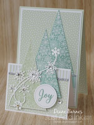Handmade Double Easel Card Fancy Fold Christmas Card Using Stampin Up Snow Is Glistening And Snowf Diy Christmas Cards Christmas Cards Christmas Cards Handmade