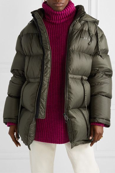 Army Green Oversized Hooded Quilted Shell Down Jacket Acne Studios Down Jacket Acne Studios Sweater Jackets