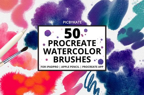 Ad 50 Procreate Watercolor Brushes By Picbykate On Creativemarket