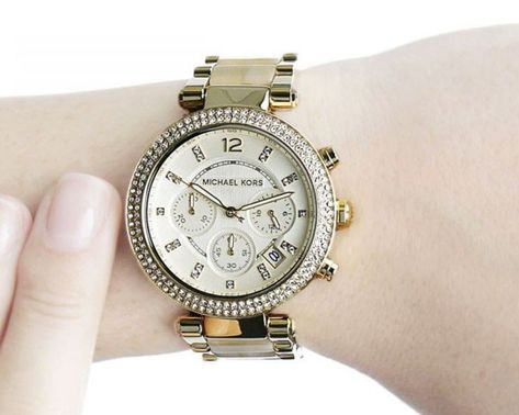 69725c42359e NEW Michael Kors Parker MK5632 Horn Acetate Champagne Dial Chrono Ladies  Watch  MichaelKors  Casual