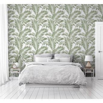 Arthouse Tropical Palm Green Non Woven Peel And Stick Wallpaper Lowes Com Peel And Stick Wallpaper Affordable Decor Palm Print Wallpaper