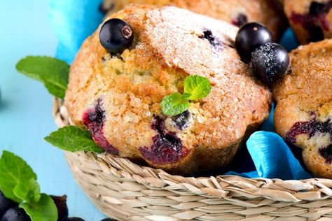 Muffins aux bleuets à base de crème sure..la collation parfaite