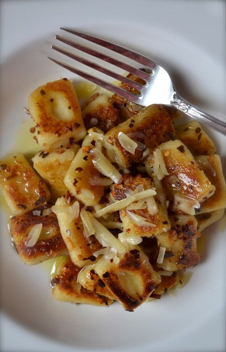 Fried Gnocchi with garlic & Parmesan...so I cheated and used pre made gnocchi but it was an amazing recipe...we both loved it...keeper