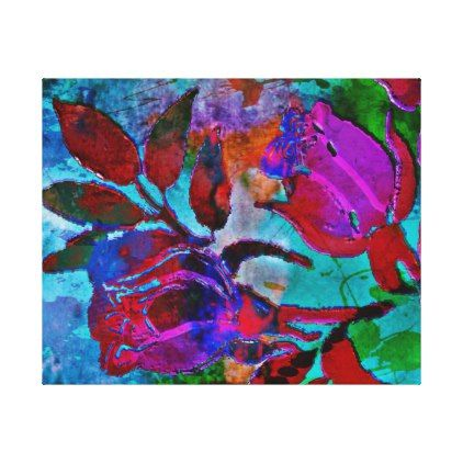 Beautiful Abstract Floral Canvas Print - floral style flower flowers stylish diy personalize
