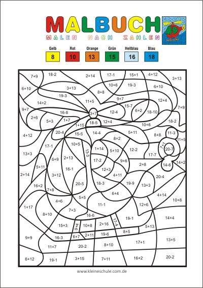 Malen Nach Zahlen Addieren Und Subtrahieren Im Zahlenraum 20 Matheaufgaben Fur Die 1 Klasse Mathem Malen Nach Zahlen Kinder Malen Nach Zahlen Erste Klasse