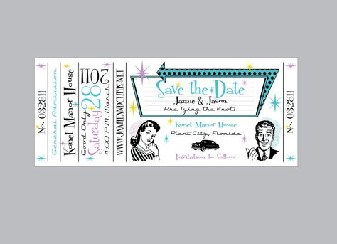 Retro 1950u0027s Wedding Save the Date Concert Ticket by jamiekonet - blank concert ticket template