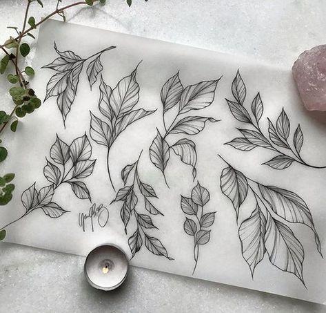 """• Yasmim Bracissievicz • on Instagram: """"Leaves available for tattooing🌿   #linetattoo #tattooinspiration #blackwork #flowertattoo #floraltattoo #tattoos # tattoosorocaba… """"  #flowertattoos - flower tattoos"""