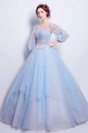 Robe De Mariee Princesse Bleu Clair Parme Aux Manches Volumineuses Persun Fr Robe De Mariee Princesse Robe De Mariee Bleu Mariee Princesse
