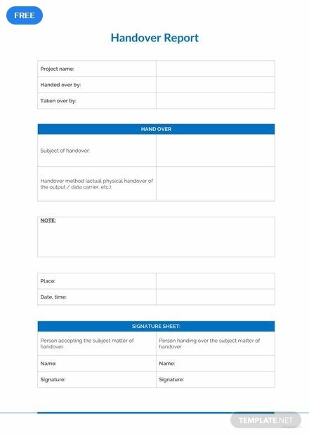 Free Sample Handover Report | Forms | Report template