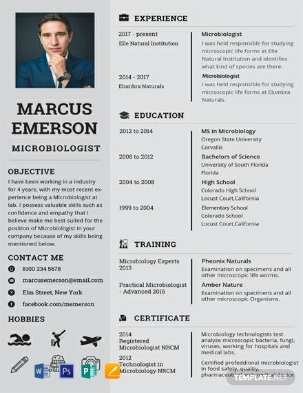 Microbiologist Resume Cv Template Word Psd Apple Pages Publisher