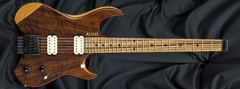 Kiesel Guitars V6 Clear Satin Finish Cs Figured Clark Walnut Top Fw Maple Neck Mahogany Body Mah Zebra Wood Finge Tung Oil Finish Guitar Zebra Wood