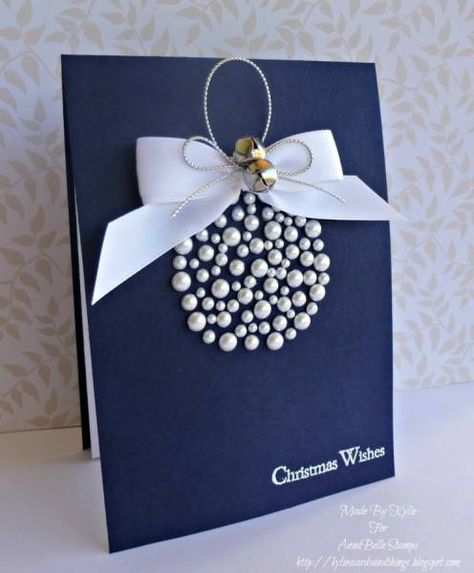"""Gorgeous """"Warmest Wishes"""" Christmas Pearl Bauble Card...love the simplicity & the elegance of this design.  By billieprd-Kylie - Cards and Paper Crafts at Splitcoaststampers."""