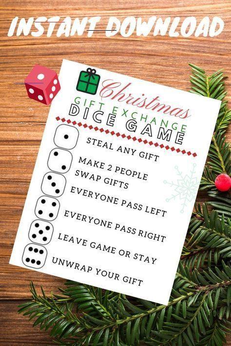 Christmas Gift Exchange Dice Game Printable Make Any Gift Exchange A Memorable One W In 2020 Christmas Gift Exchange Games Christmas Gift Exchange Christmas Gift Games