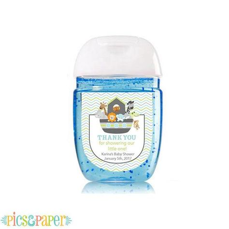Mini Hand Sanitizer Labels Noah S Ark For Baby Shower With Animals