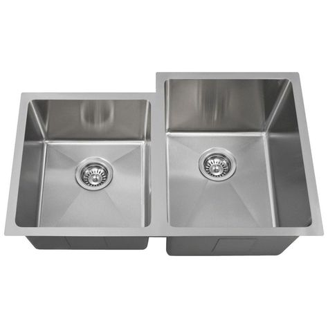 Mr Direct Undermount Stainless Steel 31 In Right Double Bowl Kitchen Sink Brushed Satin Double Bowl Kitchen Sink Sink Stainless Steel Sinks