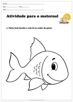 Atividade Para O Maternal Pinte E Cole La Em 2020 Com Imagens