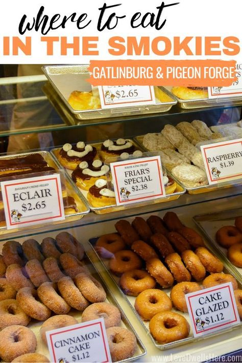 There are SO MANY amazing places to eat in Gatlinburg and Pigeon Forge (TN) and we're excited to share our faves with you! It's a little bit of everything from breakfast, to barbecue, to pizza, to homestyle cookin'! #smokymountains #gatlinburg #pigeonforge #familytravel #foodie