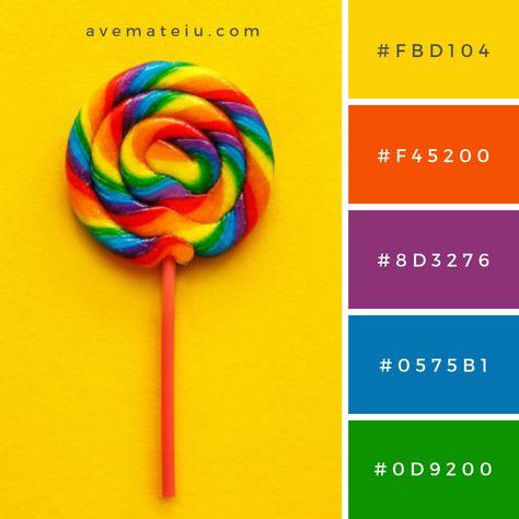Multi Colored lollipop Color Palette - Color combination, Color pallets, Co.