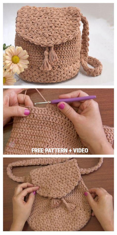 Jasmine Stitch Backpack Free Crochet Pattern Video Tutorial Jasmine Stitch Backpack Free Crochet Pattern Video Tutorial,Torby,Torebki,Torebeczki i Worki. Free Crochet Bag, Crochet Tote, Crochet Handbags, Crochet Purses, Cute Crochet, Knit Crochet, Crochet Backpack Pattern, Chrochet, Crochet Designs