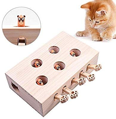 Volwco Cat Interactive Toys Teaser Cat Funny Hunt Toy Solid Wooden Whack A Mole Mouse Game Puzzle Toy Cat Punch Game 5 Ho Interactive Toys Pet Toys Puzzle Toys