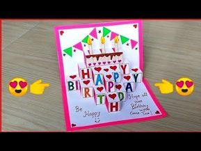 Beautiful Handmade Birthday Greeting Card Diy Birthday Pop Up Card Birthday Card Making Youtube Pop Up Kaarten Kaarten Knutselen