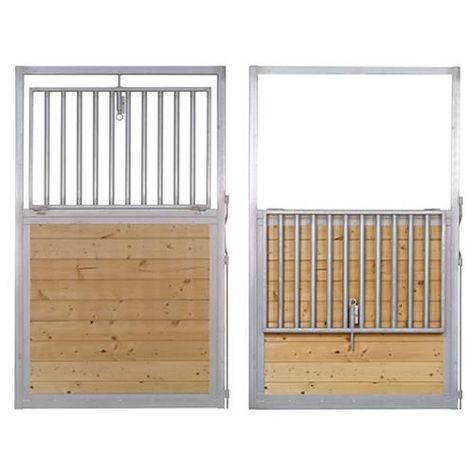 Drop-Down Steel Horse Stall Door available online at Barn Pros #horsestall #stalldoor #equine #barn #safety