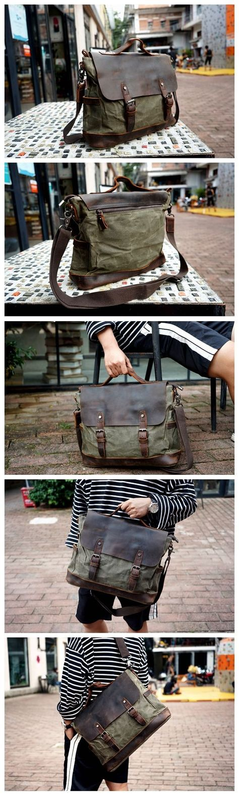 Handmade Waxed Canvas Messenger Bag Men s Leather Briefcase Cross Body Bag  Canvas Satchel Bag YC09 - 78f01c2f231d2