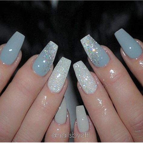 light blue nails with white glitter  nailstip