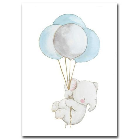 Watercolor Animal Elephant Rabbit Fox Balloons Canvas Print Wall Art Painting Baby Room
