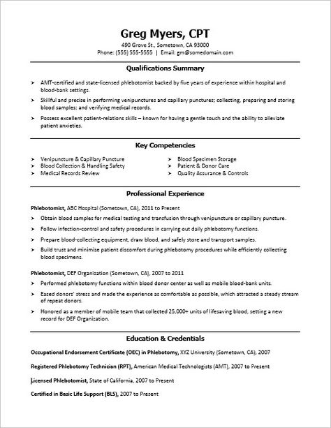 This Phlebotomist Resume Sample Shows How You Can Convey Your Phlebotomy Credentials Phlebotomy Medical Assistant Resume Phlebotomist