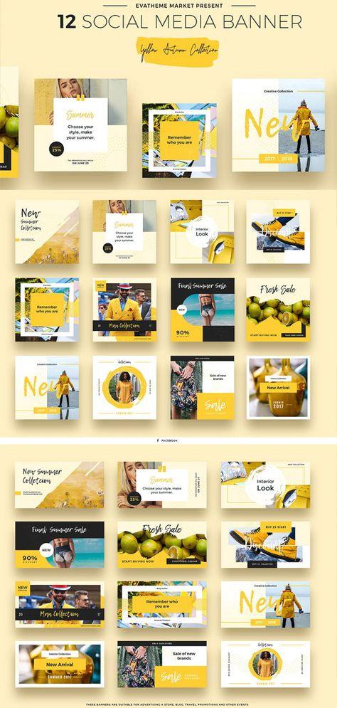 Yellow Autumn Social Media Designs