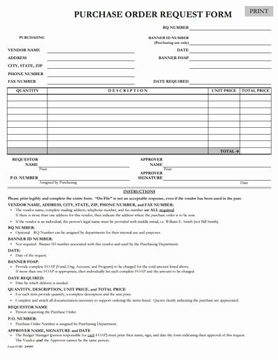 Purchase Request Form Template New Purchase Order Request Form