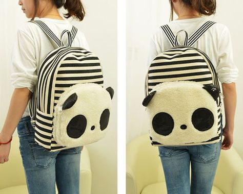 Cute Panda Cartoon Stripe Sequin Canvas School Bag Backpacks