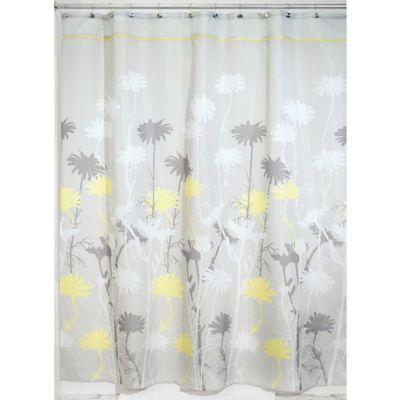 Interdesign Daizy 72 X 84 Shower Curtain In Grey Yellow Fabric