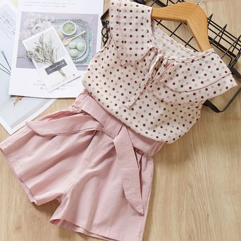 Casual Girls Clothing Sets Summer Kids Floral T-shirt Shorts Suit Clothes Outfit