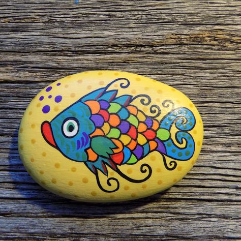 Whimsical Fish Painted Rock,Decorative Accent Stone, Paperweight by HeartandSoulbyDeb on Etsy