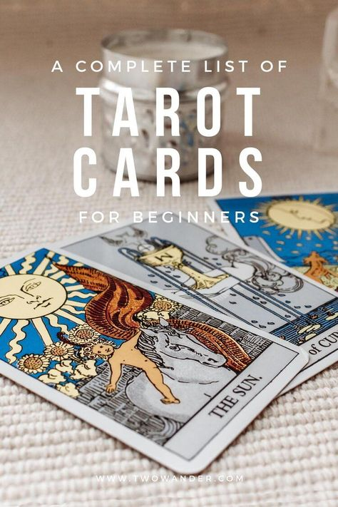 Here's a complete list of all the Tarot card and some of their meanings in order for beginners! Two Wander x Elysium Rituals #tarot #majorarcana #minorarcana #tarotcards #tarotmeanings #tarotcardmeanings #tarotlist #tarotorder