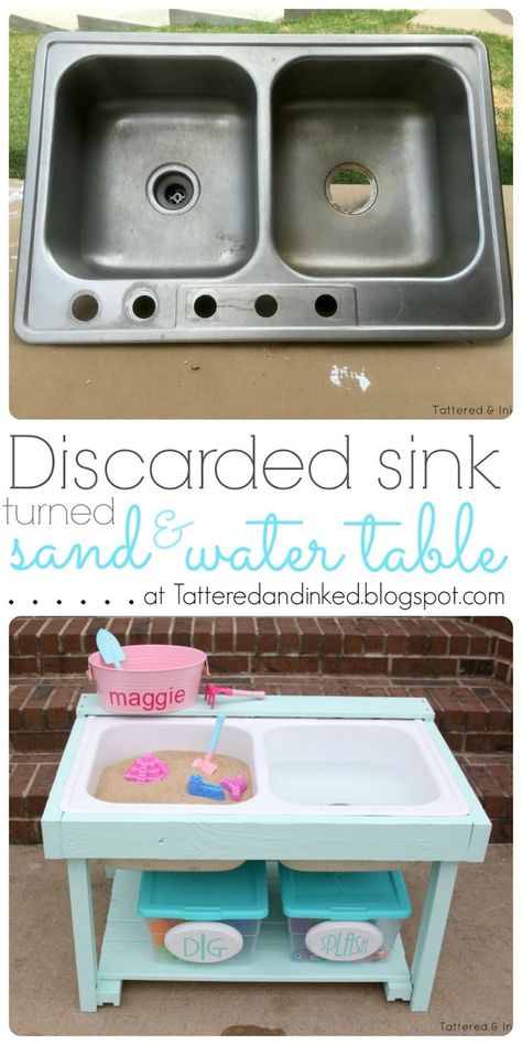Tattered and Inked: Discarded Sink Turned Sand & Water Table Sand And Water Table, Water Tables, Water Table For Kids, Water Table Diy, Toddler Water Table, Outdoor Toys, Outdoor Play, Outdoor Games, Diy For Kids