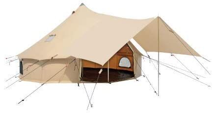 Amazon Com Awning For Premium 100 Cotton Canvas Bell Tent In Beige White Color Complete Canopy With Poles For All In 2020 Canvas Bell Tent Tent Awning Bell Tent