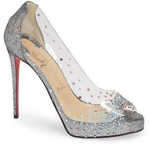 Christian Louboutin Very Strass Embellished Peep Toe Pump