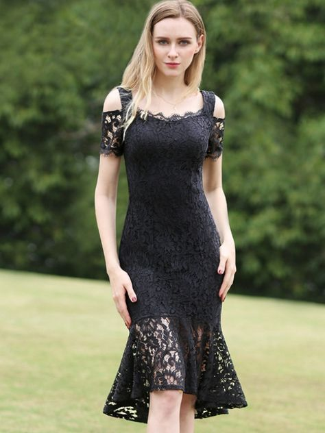 94db853c2d2e Lace Contrast Solid Color O-Neck Short Sleeves Midi Dresses #Dress  #LaceDresses #Jollyhers
