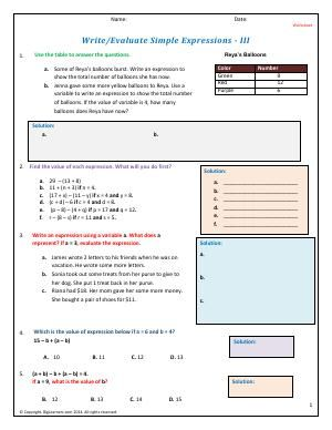 Worksheet Write Evaluate Simple Expressions Iii Write And