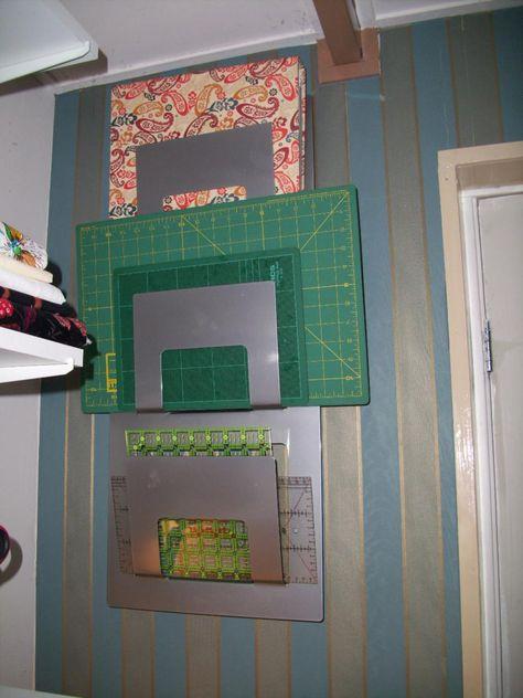 Great ruler and mat organization idea! Magazine holder from IKEA.