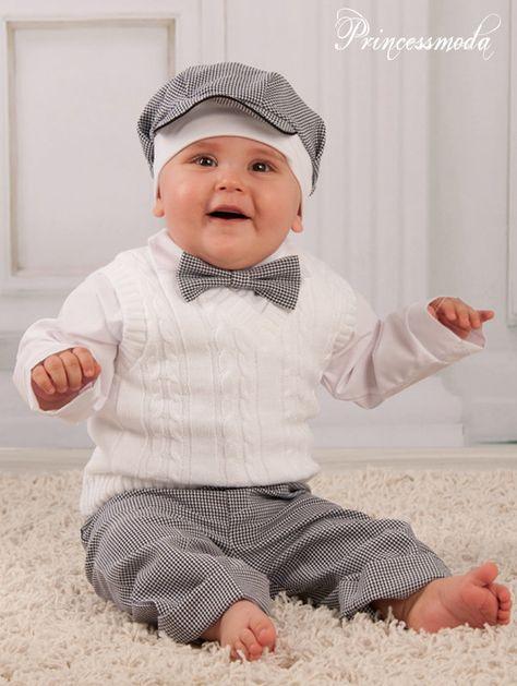 LEON ♥ Taufanzug Festanzug Babyanzug Sommer weiß-dunkelblau NEU