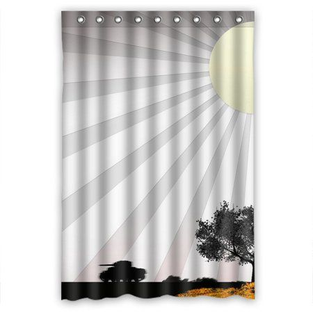 Greendecor Country Road Waterproof Shower Curtain Set With Hooks